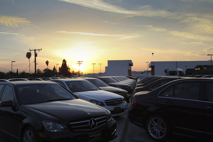 Clean cars in the sunset